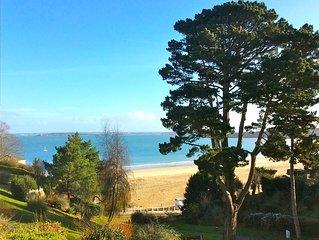 Superbe vue mer de la terrasse et du salon, 100m de la plage, des commerces. Res