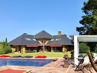 Casa de Playa y Montaña. Jardin, Piscina y Descanso