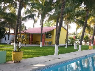 Ocean side retreat with great swimming pool, in pool table, palm trees,