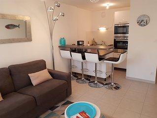Bel appartement 1 chambre, plein sud, dans résidence sécurisée, à la plage