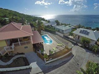 150 m de la plage, villa climatisée avec piscine privée et vue mer