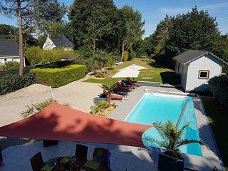 Villa 170 m2, piscine chauffée, sur 2000 m2, 3 étoiles, 13 pers. Golf La Baule