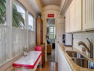Make vacation memories at this unique trolley house!