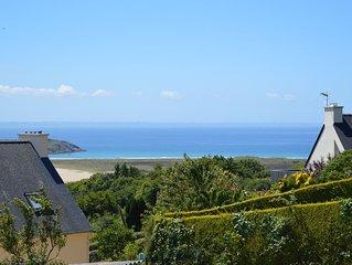Vue mer maison Presqu'île de Crozontout confort 4 pers. terrasse Proche Aber