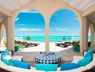 Conched Out 7BR Villa Beachfront on Long Bay Beach with Spacious Pool Deck