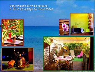 T2 à 80 mètres de la plage de l'Anse Mitan avec jardin et parking privé WIFI
