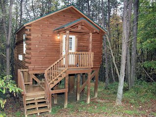 Cabin that sleeps 2 with a hot tub out in the woods!