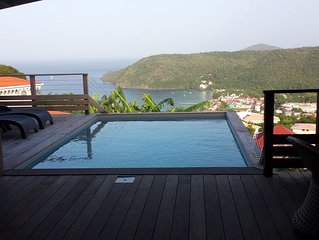 Villa récente avec piscine, vue  mer des Caraïbes