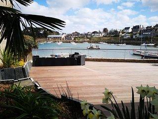 Maison les pieds dans l'eau, vue sur le port et Bréhat