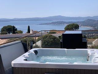 Villa plain pied vue mer Saint Tropez piscine chauffee avril a novembre/ SPA 37°