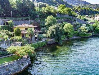 Villa Mina, in riva al lago con spiaggia e giardino botanico