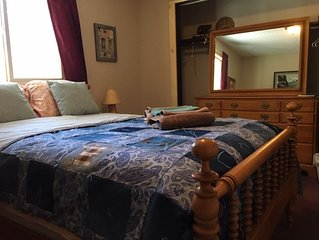 Furnished bedroom in our Home (full size bed), Dogs Welcome, Hot tub, share bath