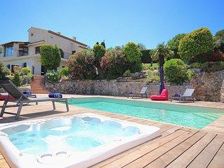 Vue mer panoramique, villa classée 5***** Piscine chauffée Spa Billard ANTIBES