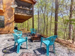 Dog-friendly Coosawattee River Resort cabin with deck, hammock, & shared pools!