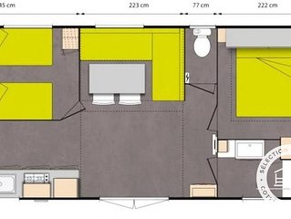 Camping Le Moteno**** - Maeva Camping - Mobil Home Jacinthe Confort Plus 3 Piece