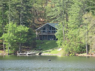 Large Lakefront Cabin with Dock