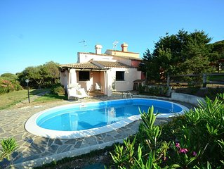 Villa on a hill overlooking the sea with panoramic views close to Stintino