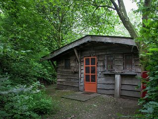 Cosily furnished small wooden house.