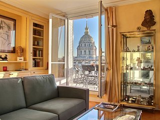 Incredible views on the Invalides - 2BD/2BTH with A/C in the 7th