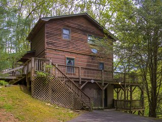 Log cabin overlooking the Watauga River & a serene pasture with Mountains