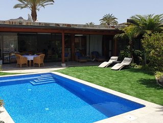 luxury villa with pool and garden, close to sea, beaches, harbor, golf