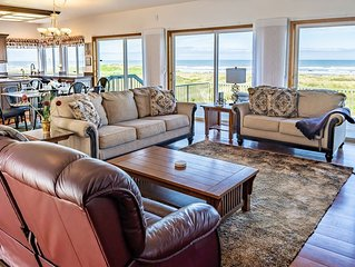 Panoramic Ocean Views from Livng Rm! Pvt Beach Access! W/Fireplace! Pet-Friendly