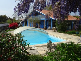 Landes traditional house, indoor pool, fenced.