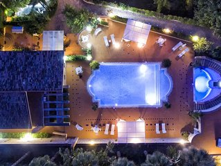 Heated external Jacuzzi Pool  | Luxury Villa with Private Pool &  Pine Forest