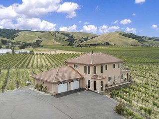 Mediterranean Style Home With Vineyard And Mountain View From Every Room.