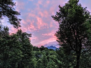 Beautiful View of Grandfather Mountain from Deck & Living Area