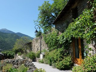 Pyrenean cottage built into rock, spectacular mountain views, **now with wifi**