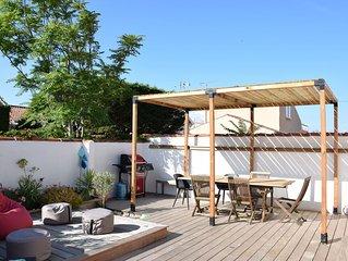 Villa grand confort, 50m de la plage, jardin clos expose Sud, services inclus