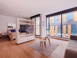 Studio apartment stylish, loft style, safe