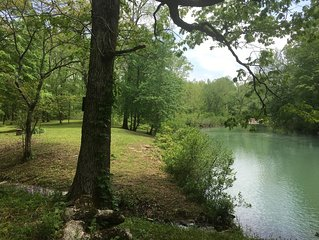NEW listing - Merging Waters - Native Stone, couples cabin in the Ouachita Mtns.