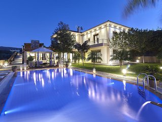 Villa Thea with a heated indoor pool close to the beach