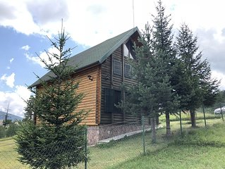 Beautiful wooden house nearby pines forest
