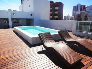 Apartamento de 2 quartos em Tambau com piscina na cobertura