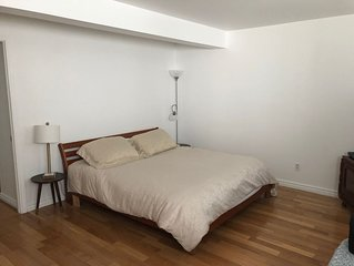Very large and bright and clean semi basement studio in Cote St-Luc, quiet area