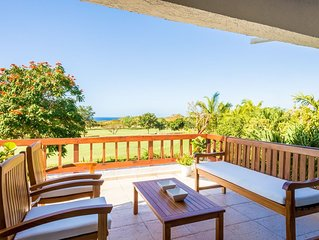 Golf Villa with Ocean Views, Close to Minitas Beach, Communal Swimming Pool, AC,