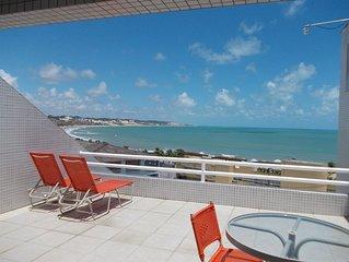 Lindo flat vista mar  a poucos metros da praia de Ponta Negra