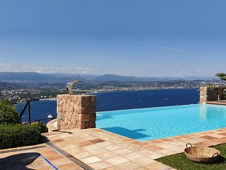 Luxury estate, 180° sea view, heated infinity pool, sleeps 10