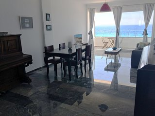 Agean blue Beachfront renovated luxury apartment
