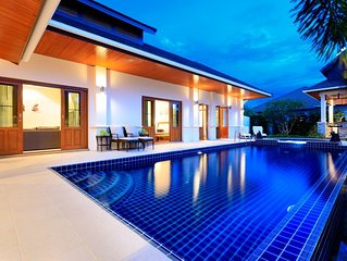 Hua Hin Luxury Bali Villa with private pool and BBQ, 4 bedrms, 3 bath, sleeps 8