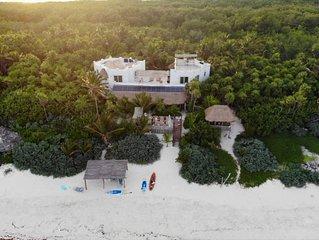 Luxury beachfront villa on private virgin white beach of the Sian Ka'an, Tulum