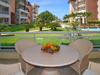 105m² apt na praia, acomoda 9, 3 quartos e 3 banheiros com vista piscina