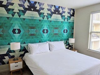 Centrally located in Uptown Charlotte.  Gym, Pool and Free Parking.  Walk everyw