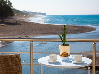 By the sea apartments, literally on Agios Andreas beach in Ierapetra, Crete, No1