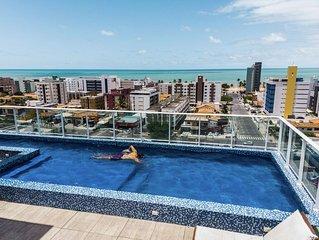 Apartamento na praia de Cabo Branco, completo, 2 quartos, p/ 5 pessoas