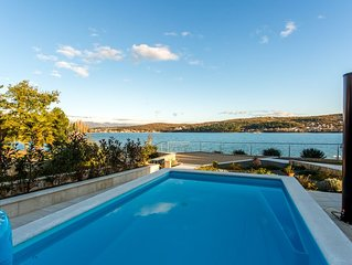 NEW 2018 ! Seafront Villa Ema with Seaview, swimming pool, garage, BBQ, playroom