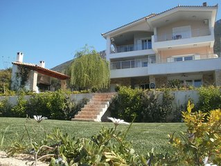 The house is situated on the beach and it is only 1 minute walk .